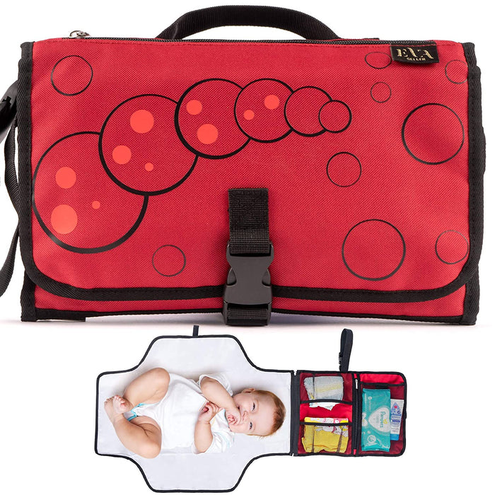 Portable Changing Pad Baby Diaper -Waterproof Lightweight Large Travel Diapers Changing Station Red Color