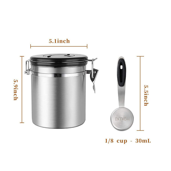 HOKEKI Stainless Steel Container , Coffee Ground Vault Jar With One Way Co2 Valve And Scoop 16 oz (Stainless Steel)
