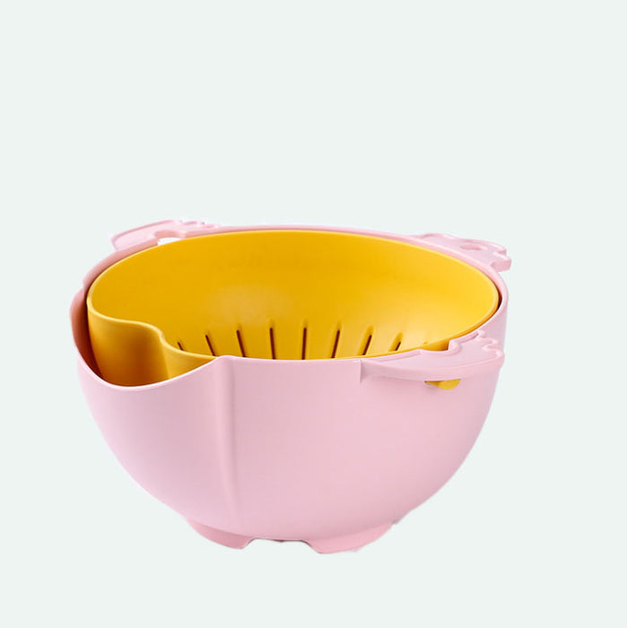2-Layer Drain Basket - 2 in 1 Strainer Colanders Set - Kitchen Spaghetti Strainer, Detachable Rotatable Drain Basin Basket