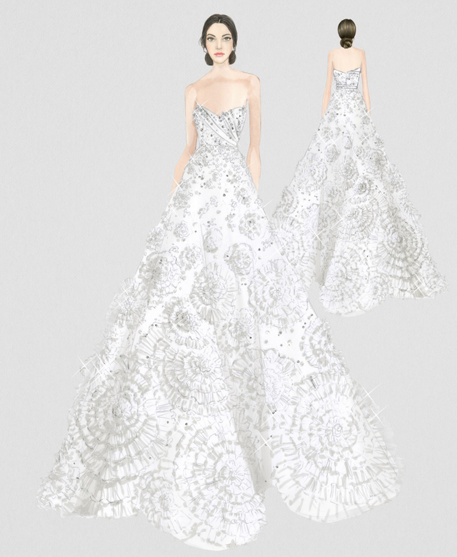 Ralph & Russo couture wedding dress sketch for Thassia Naves