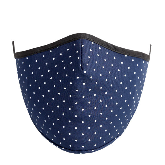 Face Mask w/ Filter Pocket, bamboo fibre layer - reusable, Max COMFORT - Navy Blue with Dots
