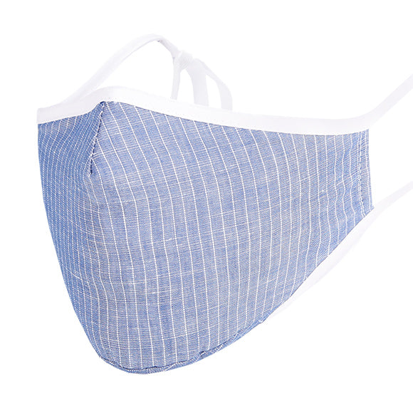 Face Mask w/ Filter Pocket, bamboo fibre layer - reusable, Max COMFORT - Blue