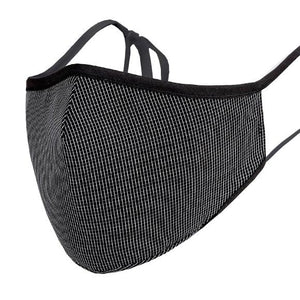 Face Mask w/ Filter Pocket, bamboo fibre layer - reusable, Max COMFORT - Black Pattern