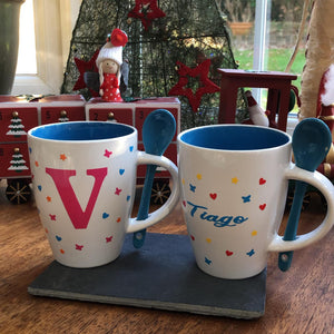 Personalised Mug with spoon in porcelain - Valentine's, teacher gift, mum grandad, dad
