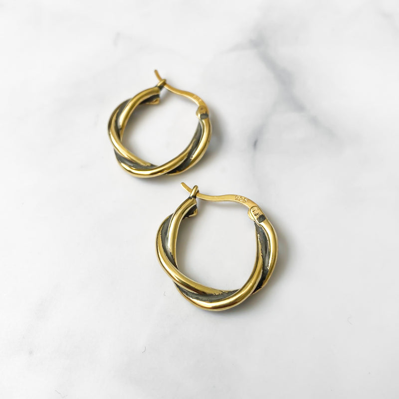 Gold Twist Hoops - Lottie & Grey