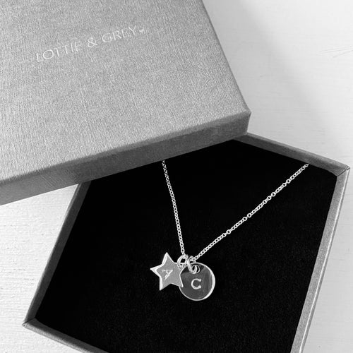 Silver Star & Disc Necklace - Lottie & Grey
