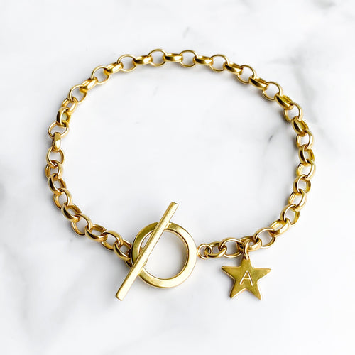 Gold T Bar Bracelet - Lottie & Grey