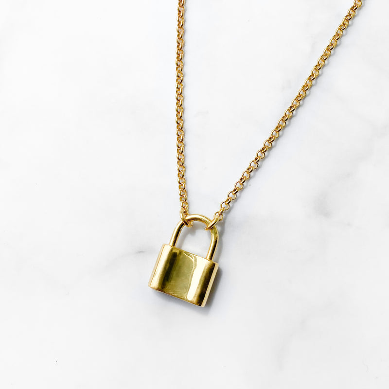Gold Padlock Necklace - Lottie & Grey