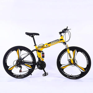 "Magicjinx 26"" 21/24/27/30-Speed Mountain Bike for Adult, High carbon steel Full Suspension Frame, Disc Brake"