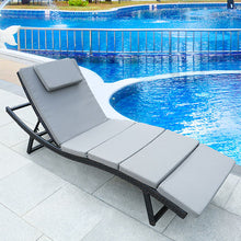 Load image into Gallery viewer, Patio Chaise Lounge with Cushions Modern Outdoor Furniture Set PE Wicker Rattan Backrest Lounger Chair Patio Folding Chaise Lounge