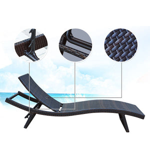 Patio Chaise Lounge with Cushions Modern Outdoor Furniture Set PE Wicker Rattan Backrest Lounger Chair Patio Folding Chaise Lounge