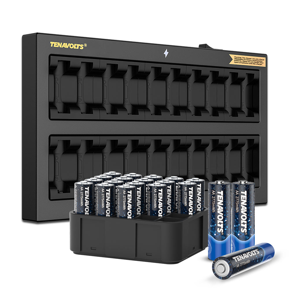 TENAVOLTS Lithium Rechargeable AA Battery, 20 Counts with a wall charger