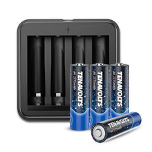 Load image into Gallery viewer, TENAVOLTS Lithium Rechargeable AA Battery, 4 Counts with a charger