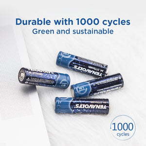 TENAVOLTS Lithium Rechargeable AA Battery, 2 Counts with a charger