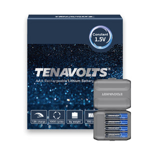TENAVOLTS Lithium Rechargeable AAA Battery, 4 Counts
