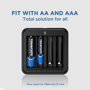 TENAVOLTS Lithium Rechargeable AAA Battery, 4 Counts with a charger