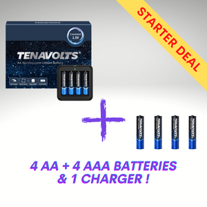 Starter Combo - 4 TENAVOLTS AA and 4 TENAVOLTS AAA Lithium Rechargeable Batteries, plus 2 chargers