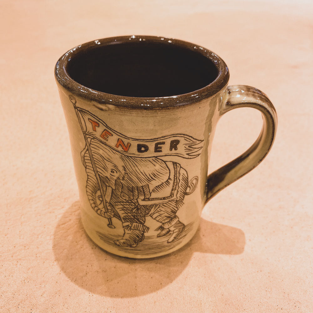 SGRAFFITO HAND-THROWN NATURAL RED CLAY COFFEE MUG TENDER 10YEARS SPECIAL!!