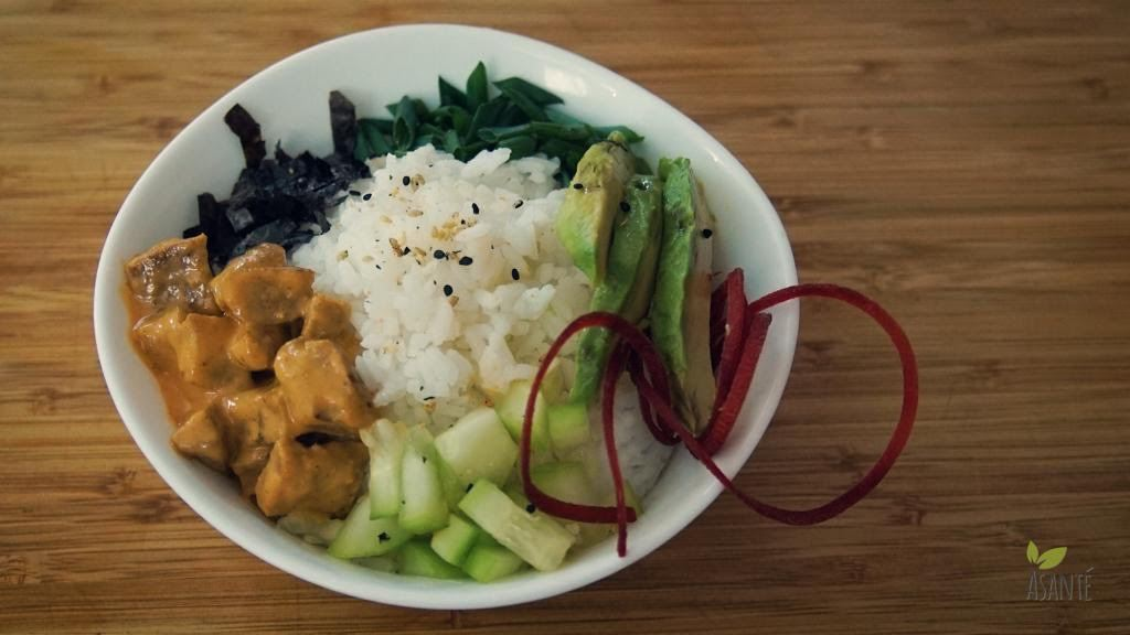 Spicy-Fishless Poke-bowl - AsantePlantBased