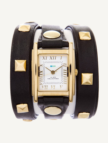 Black - Gold Pyramid Wrap Watch