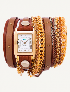 Brown Wash Taupe Gold Stud Arizona Wrap Watch