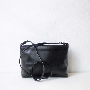 A black leather bag from the back.