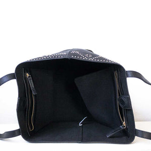 A black tote from inside.