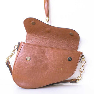 A saddle bag open.