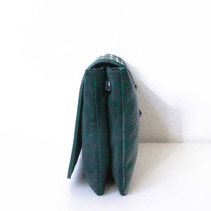 A green crossbody bag from right.