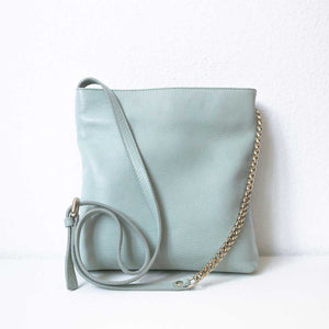 A pastel green bag from the back.