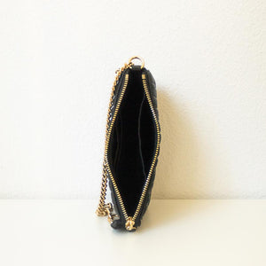 A black quilted pouch from above.
