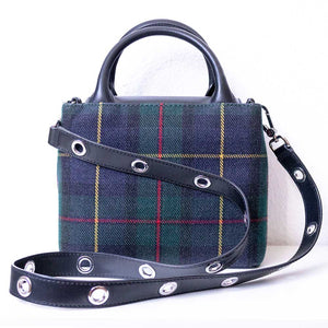 A tartan handbag from the back.
