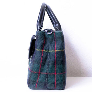 A tartan handbag from right.