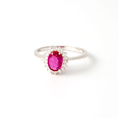 Bague or blanc diamants rubis ovale