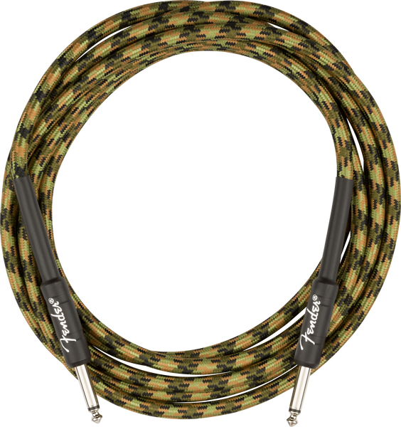 FENDER Professional Series Instrument Cable Straight/Straight 10', Woodland Camo