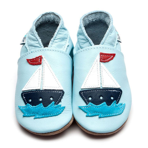 Baby Blue Sail Boat Soft Soled Shoes