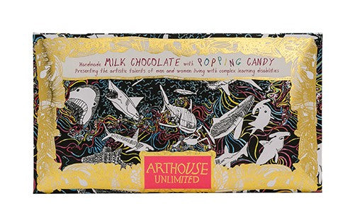 Rainbow Sharks Handmade Milk Chocolate with Popping Candy