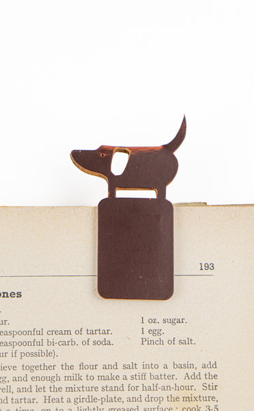 Recycled Leather Bookmark Dog
