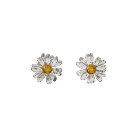 Silver and Gold Plate Daisy Stud Earrings