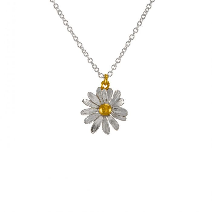 Silver and Gold Plate Daisy Necklace