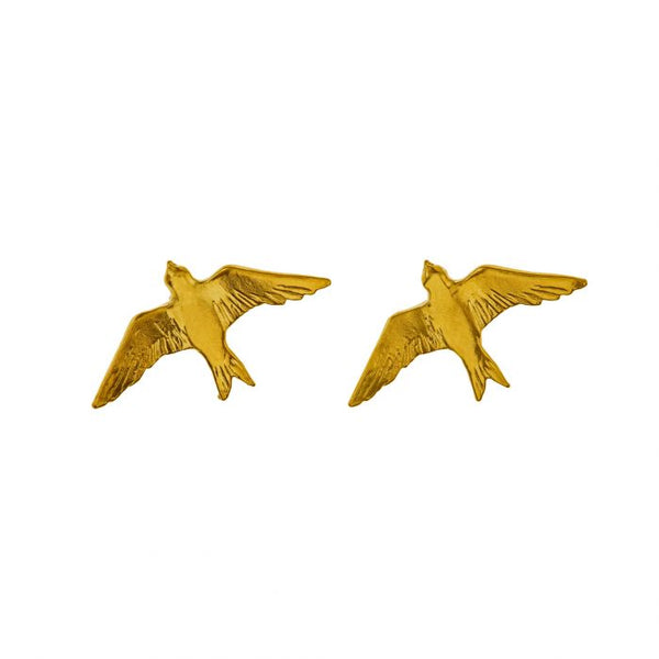 Gold Plate Swallow Stud Earrings