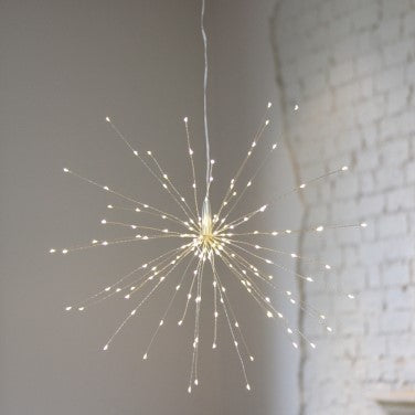 Large Silver Starburst Hanging LED Light