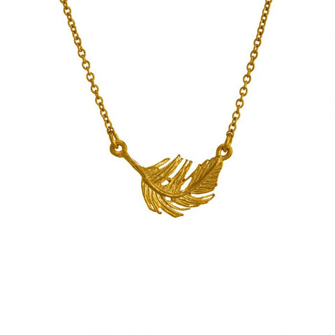 Gold Plate Little Feather Necklace