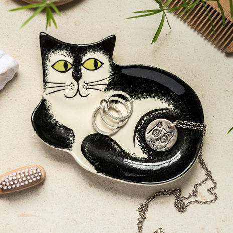 Black and White Cat Trinket Dish