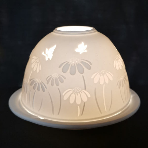 Butterflies and Daisies Porcelain Dome