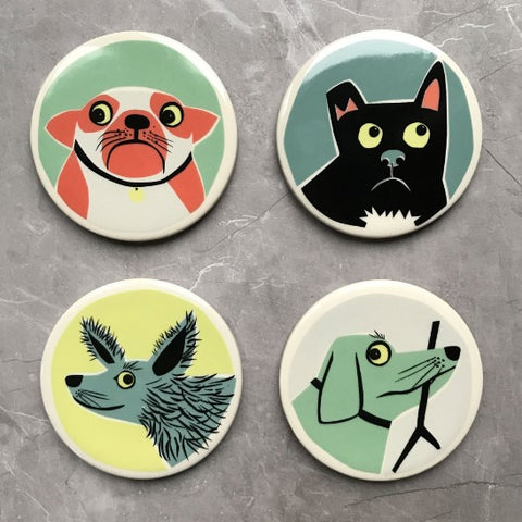 Set of Four Coasters With Dog Design