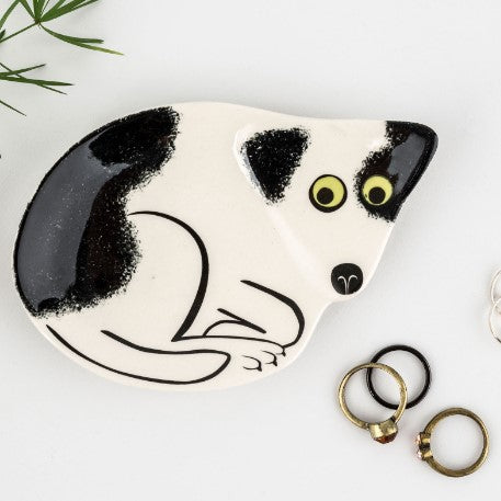 Black and White Dog Trinket Dish
