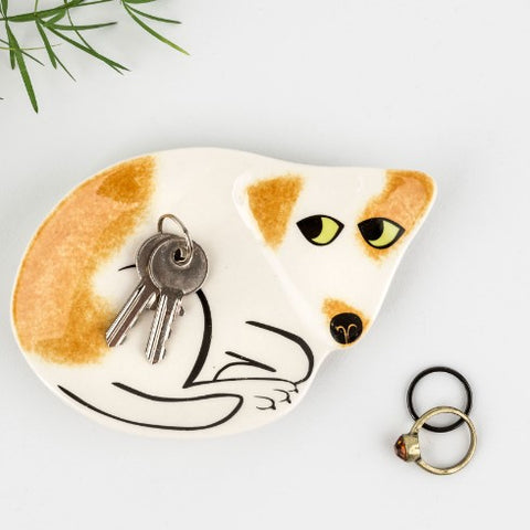 Brown and White Dog Trinket Dish