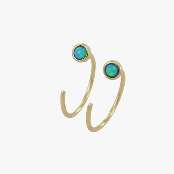 Gold and Blue Opal Crescent Earrings