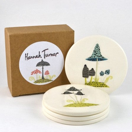 Set of Four Coasters With Toadstool Design
